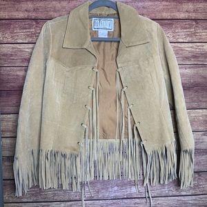 BB Dakota Genuine Leather Suede Fringe Boho Jacket